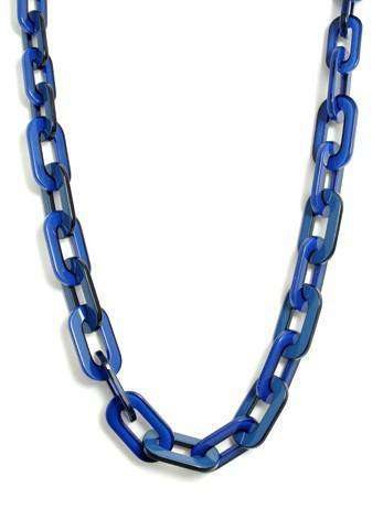 Lovely Link Necklace in Cobalt Blue by Zenzii - Country Club Prep