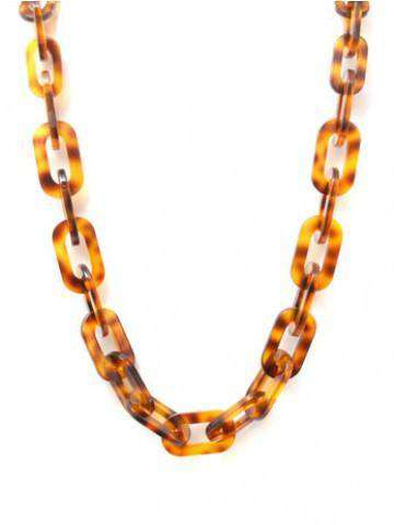 Lovely Link Necklace in Tortoiseshell by Zenzii - Country Club Prep