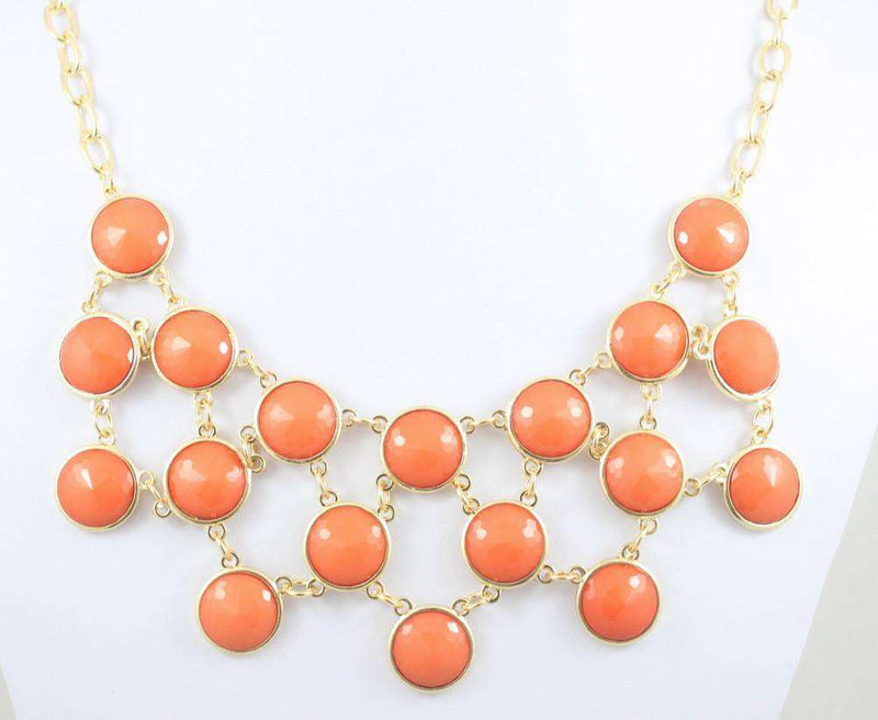 Necklaces - Maxwell Bib Necklace In Coral By Caroline Hill