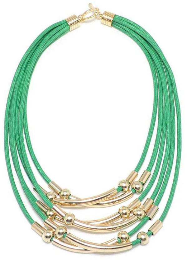 Multi-strand Bar and Cord Necklace in Green by Zenzii - Country Club Prep