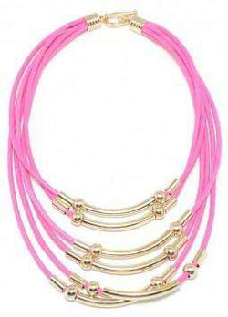 Multi-strand Bar and Cord Necklace in Hot Pink by Zenzii - Country Club Prep