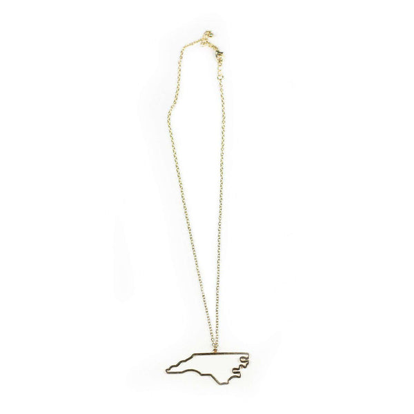 Necklaces - North Carolina Silhouette Necklace In Gold By Country Club Prep