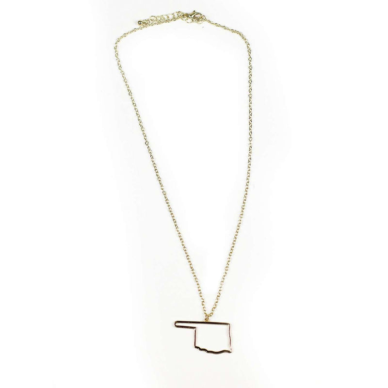 Necklaces - Oklahoma Silhouette Necklace In Gold By Country Club Prep