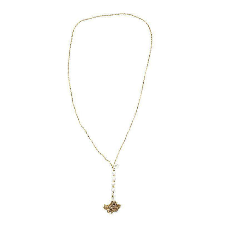 Necklaces - Pearl Tassel Necklace By Bourbon & Boweties