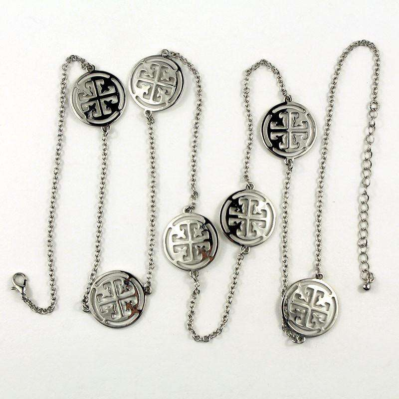 Necklaces - Rachel Long Medallion Necklace In Silver By Caroline Hill