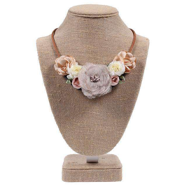 Spring Flower Fabric Necklace and Earring Set in Pink/Gold by Country Club Prep