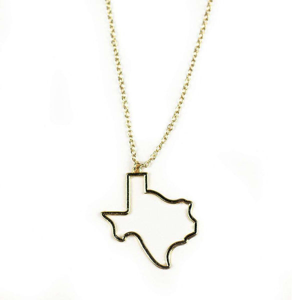 Necklaces - Texas Silhouette Necklace In Gold By Country Club Prep