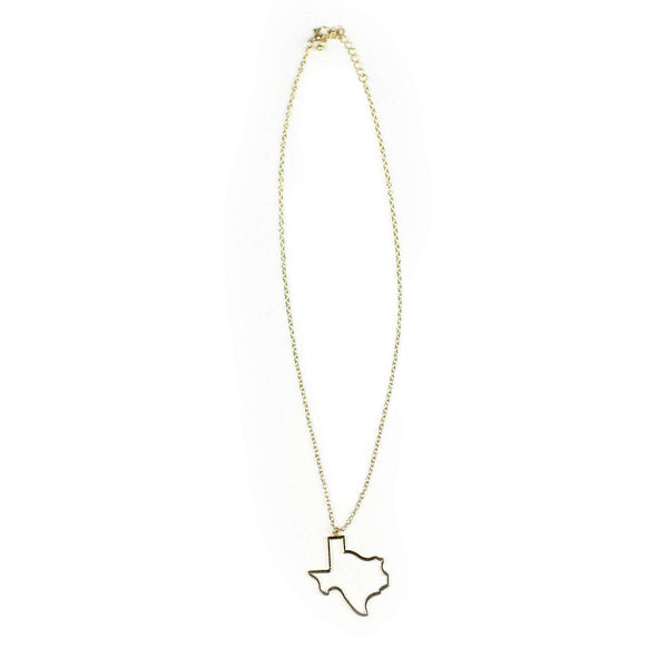Texas Silhouette Necklace in Gold by Country Club Prep