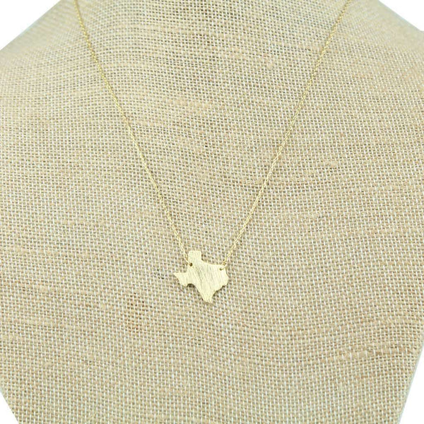 Necklaces - Texas State Pendant Necklace In Gold By Country Club Prep