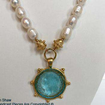 Venetian Glass Pearl Necklace in Aqua by Susan Shaw