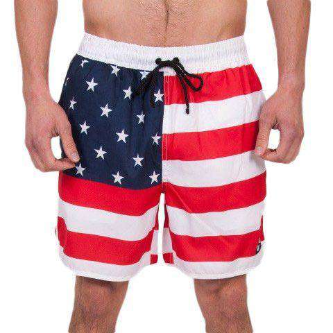 Old Glories Swim Trunks in Red, White, and Blue by Rowdy Gentleman  - 1