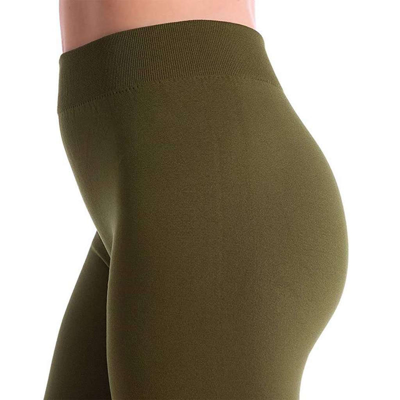 Country Club Prep Ultra-Soft Seamless Fleece Lined Leggings in Olive Green