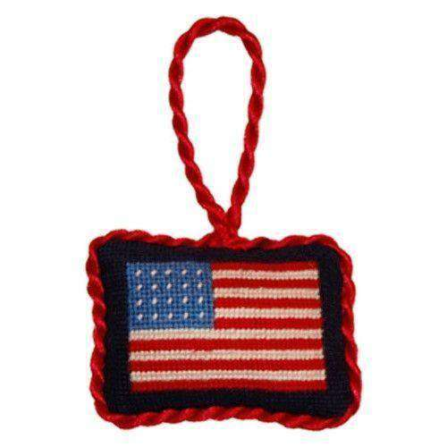 Ornaments - American Flag Needlepoint Christmas Ornament In Blue By Smathers & Branson