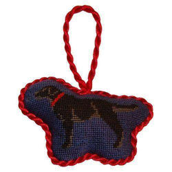 Ornaments - Black Lab Needlepoint Christmas Ornament In Blue By Smathers & Branson