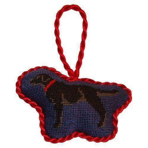 Black Lab Needlepoint Christmas Ornament in Blue by Smathers & Branson