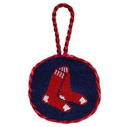 Boston Red Sox Needlepoint Christmas Ornament in Navy Blue by Smathers & Branson