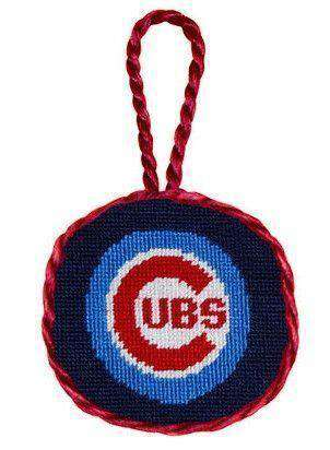 Chicago Cubs Needlepoint Christmas Ornament in Navy Blue by Smathers & Branson