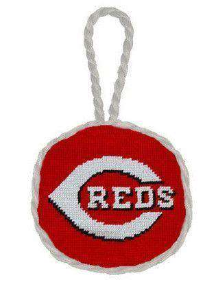 Ornaments - Cincinnati Reds Needlepoint Christmas Ornament In Red By Smathers & Branson