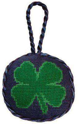 Ornaments - Clover Needlepoint Christmas Ornament In Blue By Smathers & Branson