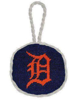 Detroit Tigers Needlepoint Christmas Ornament In Navy Blue By Smathers Branson