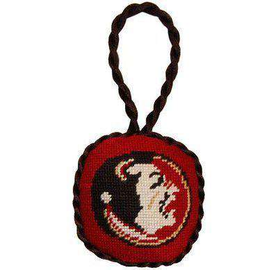 Florida State University Needlepoint Christmas Ornament in Garnet by Smathers & Branson