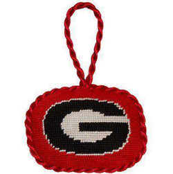 Ornaments - Georgia Needlepoint Christmas Ornament In Red By Smathers & Branson