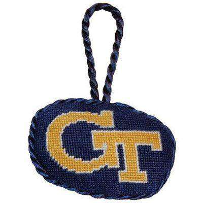Ornaments - Georgia Tech Needlepoint Christmas Ornament In Navy By Smathers & Branson