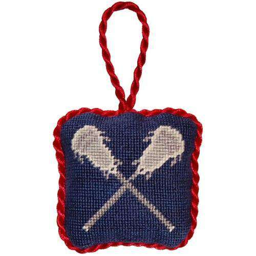 Lacrosse Sticks Needlepoint Christmas Ornament in Blue by Smathers & Branson