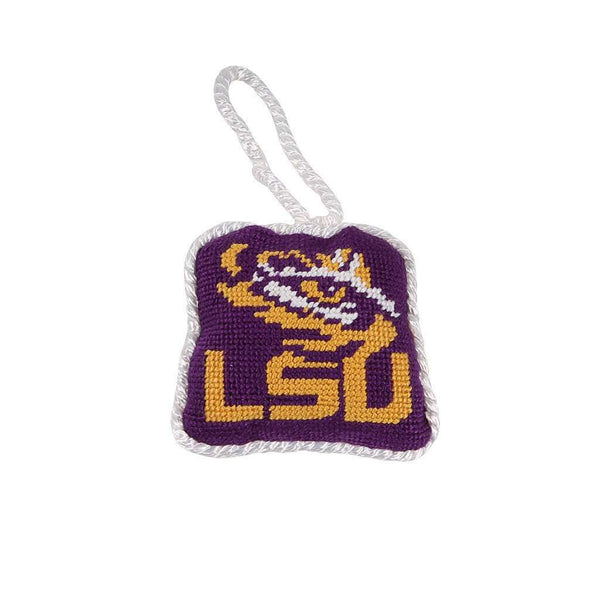Louisiana State University Needlepoint Christmas Ornament in Purple by Smathers & Branson