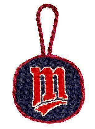 Minnesota Twins Needlepoint Christmas Ornament in Navy Blue by Smathers & Branson