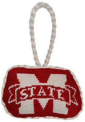 Mississippi State University Needlepoint Christmas Ornament in Maroon by Smathers & Branson