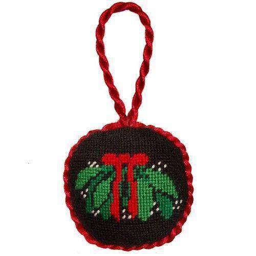 Ornaments - Mistletoe Needlepoint Christmas Ornament In Black By Smathers & Branson