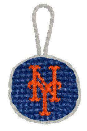 New York Mets Needlepoint Christmas Ornament in Blue by Smathers & Branson