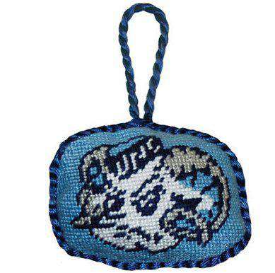North Carolina Needlepoint Christmas Ornament in Carolina Blue by Smathers & Branson