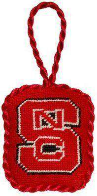 North Carolina State University Needlepoint Christmas Ornament in Red by Smathers & Branson