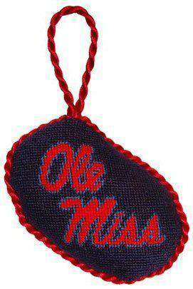Ornaments - Ole Miss Needlepoint Christmas Ornament In Blue By Smathers & Branson