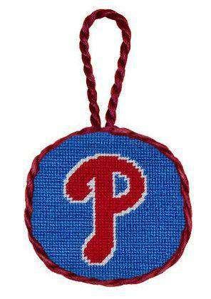 Ornaments - Philadelphia Phillies Needlepoint Christmas Ornament In Blue By Smathers & Branson