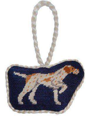 Ornaments - Pointer Needlepoint Christmas Ornament In Navy Blue By Smathers & Branson