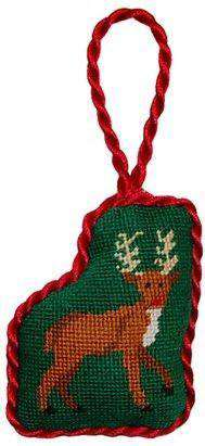 Ornaments - Reindeer Needlepoint Christmas Ornament In Green By Smathers & Branson
