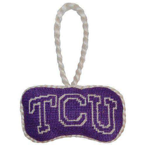 Ornaments - TCU Needlepoint Christmas Ornament In Purple By Smathers & Branson