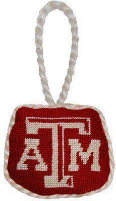 Texas A & M University Needlepoint Christmas Ornament in Maroon by Smathers & Branson