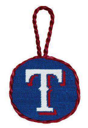 Texas Rangers Needlepoint Christmas Ornament in Blue by Smathers & Branson