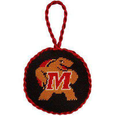 University of Maryland Needlepoint Christmas Ornament in Black by Smathers & Branson