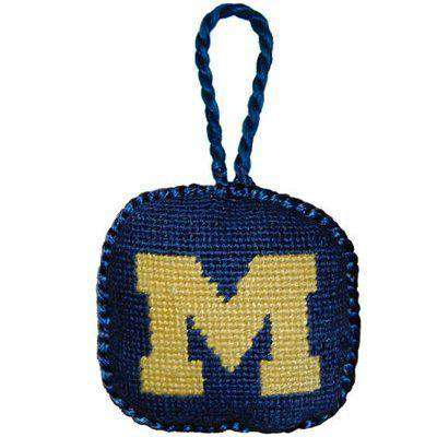 Ornaments - University Of Michigan Needlepoint Christmas Ornament In Navy By Smathers & Branson