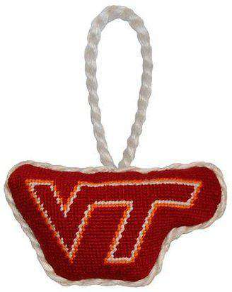 Virginia Tech Needlepoint Christmas Ornament in Maroon by Smathers & Branson