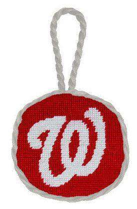Washington Nationals Needlepoint Christmas Ornament in Red by Smathers & Branson
