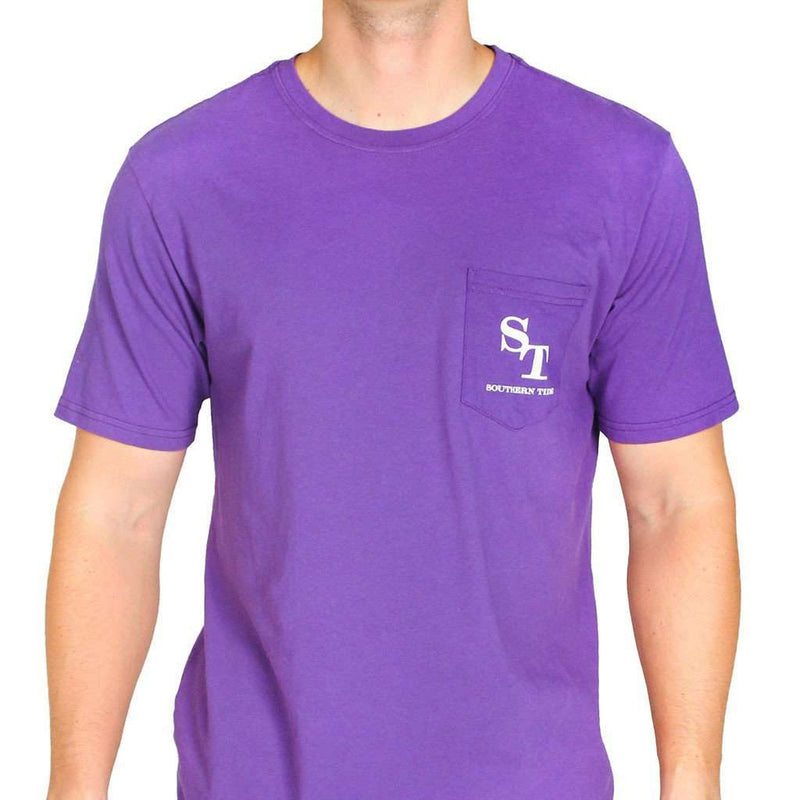 University Outline Pocket Tee in Regal Purple by Southern Tide - FINAL SALE