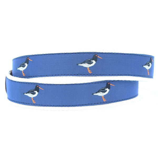Oyster Catcher Leather Tab Belt in Blue by Country Club Prep