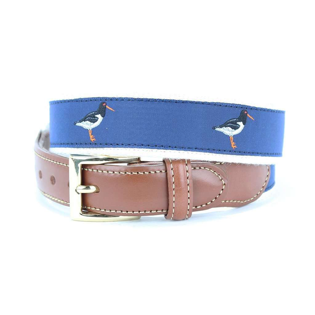 Oyster Catcher Leather Tab Belt in Blue by Country Club Prep  - 1