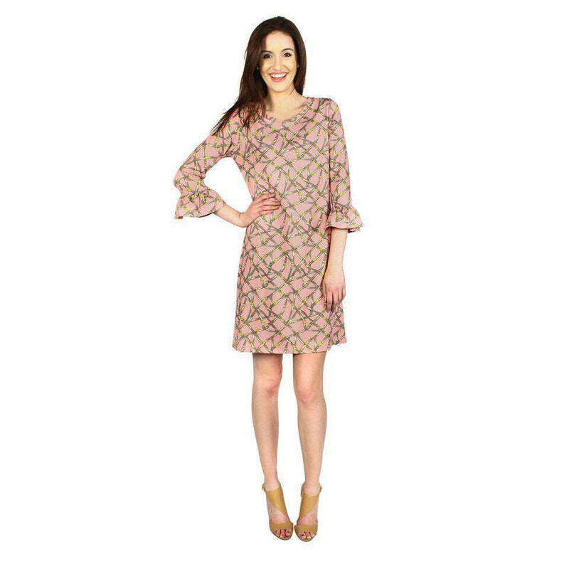 Belts Print Dress in Pink by Barbara Gerwit - Country Club Prep